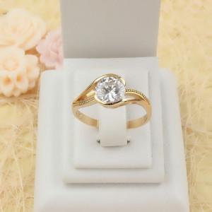 Отличное кольцо «Феличита» с круглым цирконом и 18-ти каратной позолотой купить. Цена 185 грн