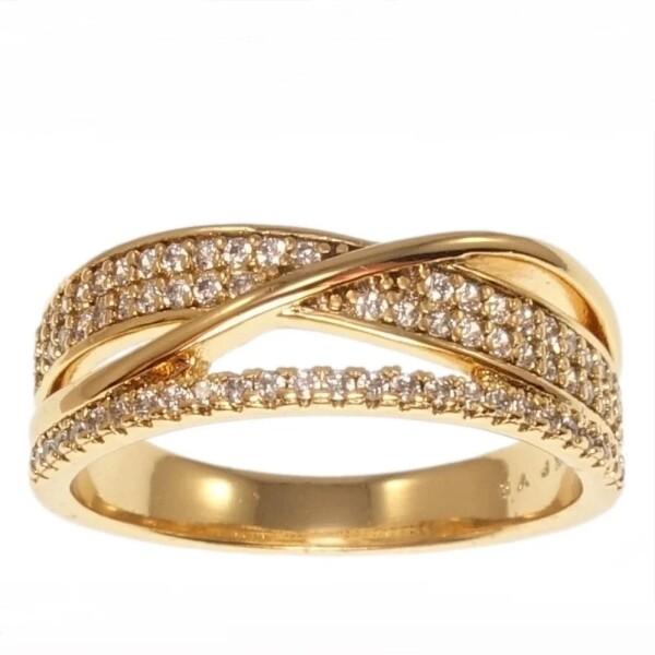 Красивое кольцо «Ренуар» с мелкими бесцветными фианитами в позолоте купить. Цена 225 грн
