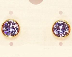 Круглые серьги-пусеты «Дайкири» с фиолетовым камнем Сваровски в позолоченной оправе фото. Купить