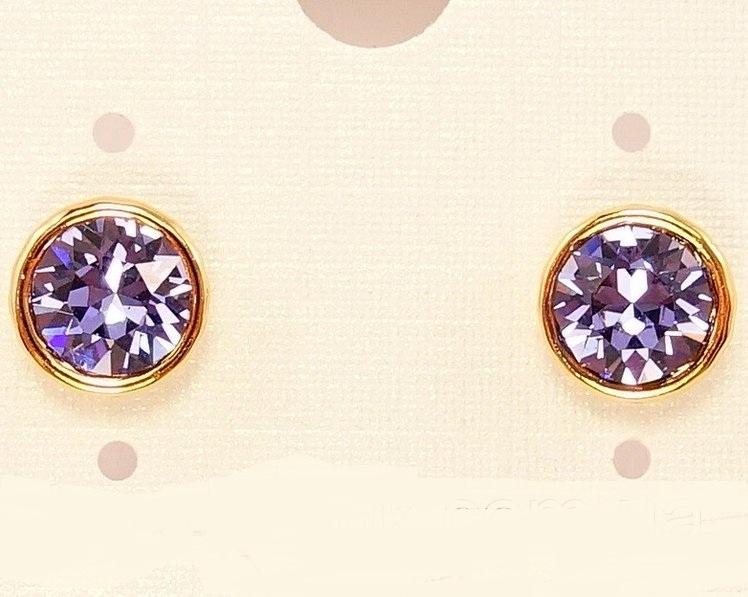 Круглые серьги-пусеты «Дайкири» с фиолетовым камнем Сваровски в позолоченной оправе купить. Цена 115 грн