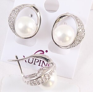 Элегантные серьги «Дорида в белом» с белой жемчужиной и родиевым покрытием купить. Цена 165 грн