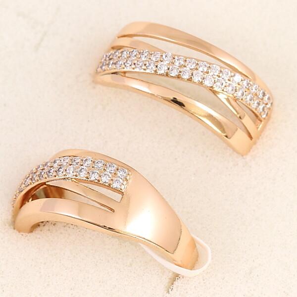 Стильное кольцо «Меридиан» с дорожкой из камней в позолоченной оправе купить. Цена 185 грн