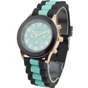 Двухцветные женские часы «Geneva» с бирюзовым циферблатом и силиконовым ремешком фото. Купить