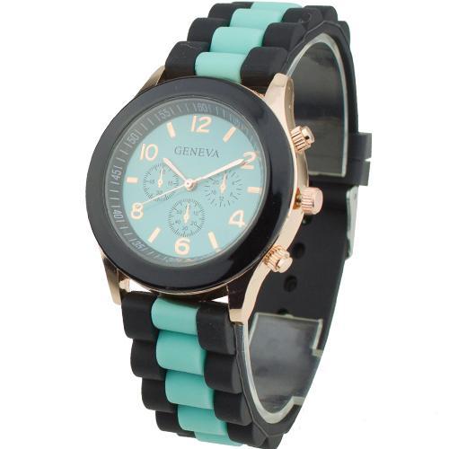 Двухцветные женские часы «Geneva» с бирюзовым циферблатом и силиконовым ремешком купить. Цена 235 грн