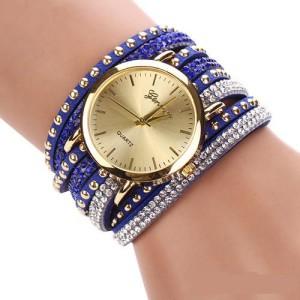 Оригинальные женские часы «Geneva» с красивым синим ремешком со стразами фото. Купить