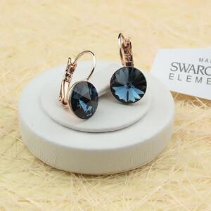 Благородные серьги «Аквамарин» с камнем Swarovski в позолоченной оправе купить. Цена 275 грн