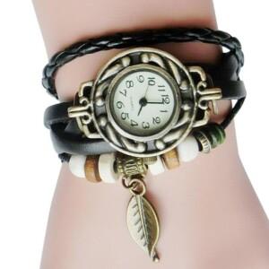 Популярные часы «Quartz» в винтажном стиле с чёрным ремешком купить. Цена 155 грн