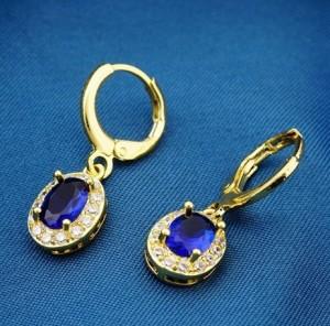 Маленькие серьги «Сопрано» с красивым синим камнем и золотым покрытием фото. Купить