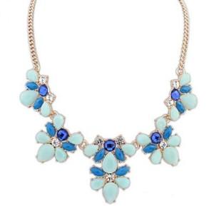 Привлекательное ожерелье «Мишель» из страз и синих и голубых камней в металле под золото купить. Цена 165 грн