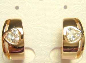 Оригинальные серьги «Объятия» с камнем в форме сердечка в позолоченной оправе фото. Купить