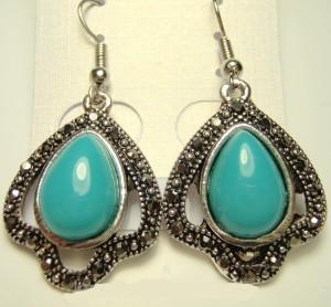 Старинные серьги «Невские» в этническом стиле с голубым камнем и чешскими кристаллами купить. Цена 75 грн или 235 руб.