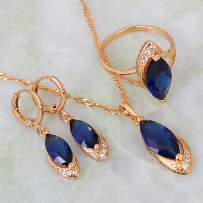 Изумительный комплект «Марианна» с высококачественным золотым покрытием и синими цирконами купить. Цена 599 грн
