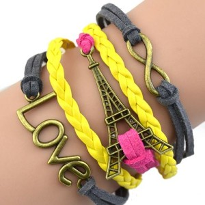 Разноцветный браслет «Инфинити» с Эйфелевой башней и знаком бесконечности фото. Купить