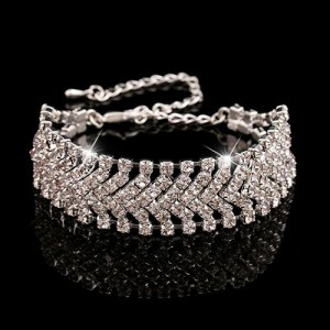 Классический браслет «Венчание» с бесцветными стразами в белом металле фото. Купить