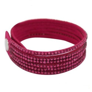 Розовый многорядный браслет «Гламурка» со стразами и застёжкой-кнопкой купить. Цена 69 грн