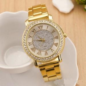 Большие женские часы «Geneva» с металлическим браслетом и римскими цифрами на белом циферблате фото. Купить