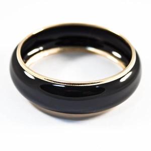 Литой браслет «Элегия»с эмалью чёрного цвета и золотым ободком купить. Цена 99 грн