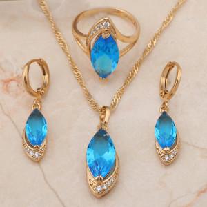 Эксклюзивный набор «Одиссея» с голубыми фианитами и качественным золотым покрытием купить. Цена 599 грн или 1875 руб.