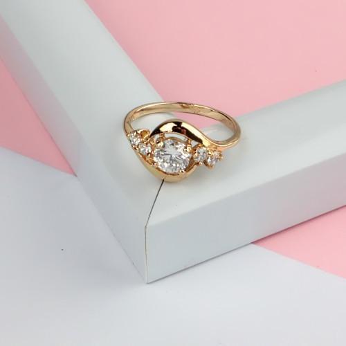 Изящное кольцо «Глория» с бесцветными фианитами и 18-ти каратным золотым покрытием купить. Цена 199 грн