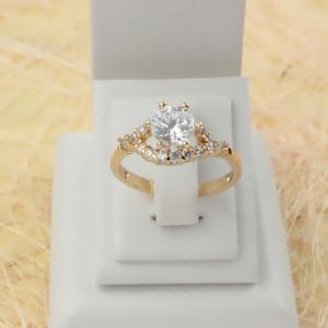 Фантастическое кольцо «Умиление» с настоящей позолотой и бесцветными цирконами купить. Цена 190 грн