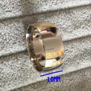 Широкое гладкое кольцо «Luxury» из хирургической стали с греческим узором купить. Цена 175 грн