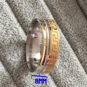 Двухцветное кольцо «Luxury» из ювелирной стали с греческой дорожкой купить. Цена 150 грн