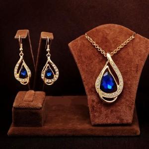 Вечерний набор «Скарлетт» с синим камнем, стразами и покрытием под золото купить. Цена 199 грн