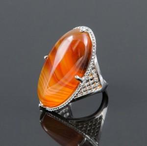 Крупное кольцо «Маркиз» с натуральным сердоликом в оправе под серебро купить. Цена 195 грн