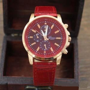Стильные часы «Geneva» с красным циферблатом, ремешком и золотистым корпусом купить. Цена 199 грн