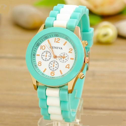 Двухцветные часы «Geneva» с золотистым корпусом и силиконовым ремешком купить. Цена 235 грн