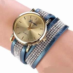 Современные часы «Geneva» с длинным ремешком цвета джинс с полосой из страз купить. Цена 220 грн