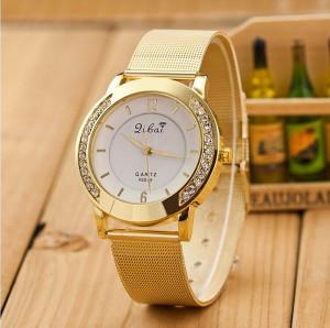 Классические часы «Libai» с металлическим ремешком-кольчугой золотого цвета купить. Цена 235 грн