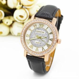 Эффектные часы «Geneva» в классическом стиле с римскими цифрами и чёрным ремешком купить. Цена 225 грн