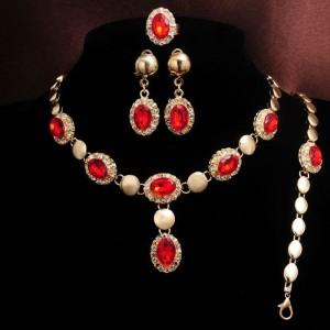 Богатый набор «Джесика» из четырёх предметов с красным камнем и покрытием под золото купить. Цена 270 грн
