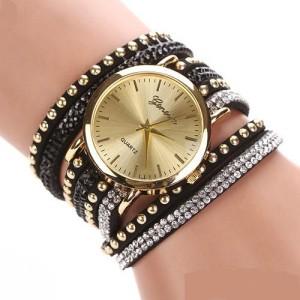 Красивые часы «Geneva» с длинным многорядным чёрным ремешком со стразами купить. Цена 220 грн