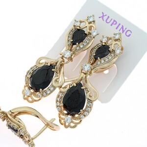 Богатые серьги «Ришилье» с крупными чёрными камнями в позолоте купить. Цена 299 грн