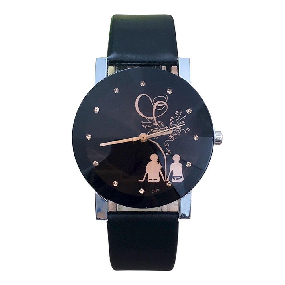 Романтичные женские часы «Quartz» с гранённым стеклом и чёрным ремешком купить. Цена 245 грн