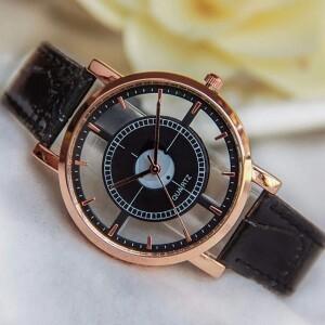 Прозрачные часы «Quartz» с чёрным лаковым ремешком купить. Цена 199 грн