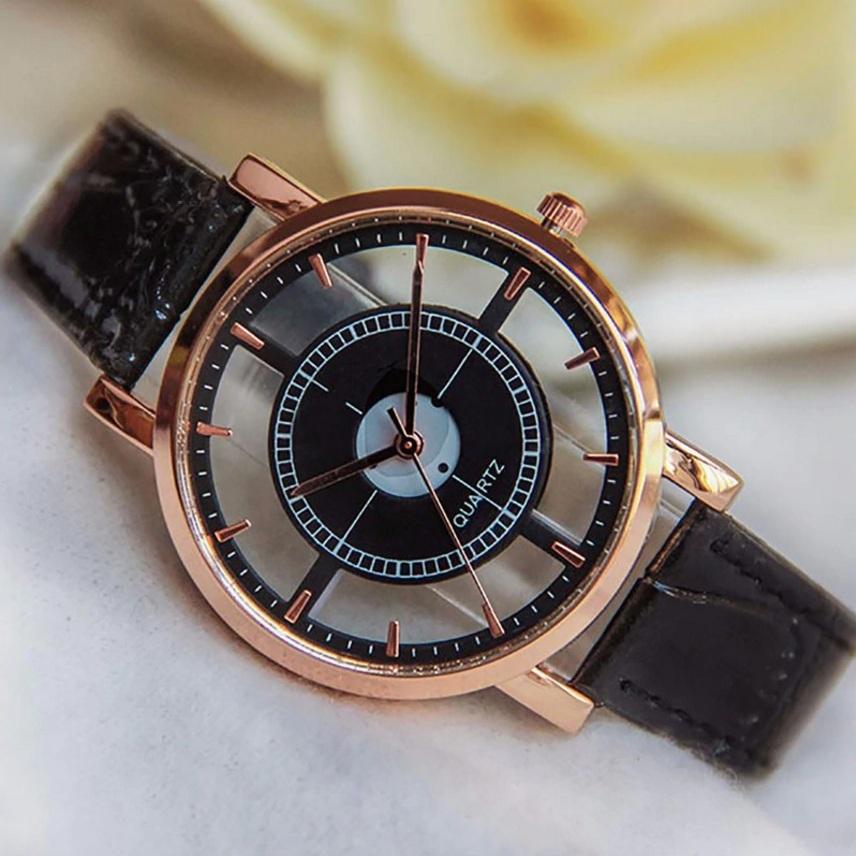 Прозрачные часы «Quartz» с чёрным лаковым ремешком купить. Цена 245 грн