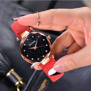 Стильные женские часы «Oktime» с красным ремешком купить. Цена 235 грн