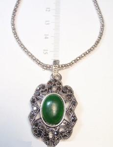 Ажурная подвеска «Фракия» с зелёным камнем, чешским хрусталём в оправе под старинное серебро купить. Цена 79 грн