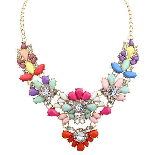 Роскошное ожерелье «Фламенко» с разноцветными камнями и белыми стразами купить. Цена 280 грн