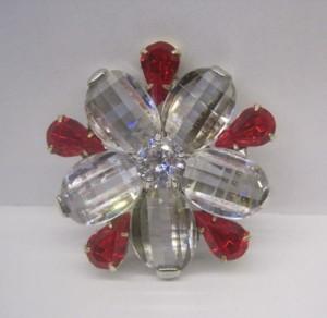 Очень красивая брошь «Тигридия» с крупными бесцветными и красными кристаллами купить. Цена 110 грн