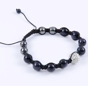 Плетёный браслет Шамбала с бусинами из чёрного авантюрина и гематита купить. Цена 115 грн или 360 руб.