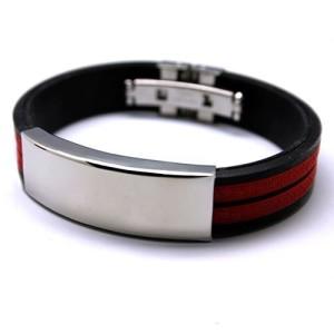 Красно-чёрный силиконовый браслет со вставкой из нержавеющей стали купить. Цена 135 грн или 425 руб.