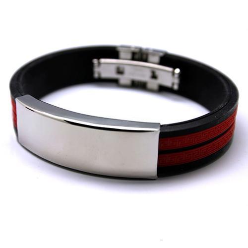 Красно-чёрный силиконовый браслет со вставкой из нержавеющей стали купить. Цена 165 грн