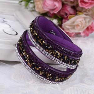 Длинный фиолетовый браслет «Фристайл» с пурпурными, золотистыми и белыми стразами фото. Купить