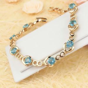 Чудесный браслет «Василиса» с голубыми цирконами и качественным золотым покрытием купить. Цена 380 грн или 1190 руб.