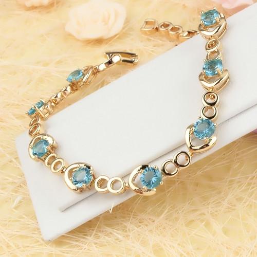 Чудесный браслет «Василиса» с голубыми цирконами и качественным золотым покрытием купить. Цена 380 грн