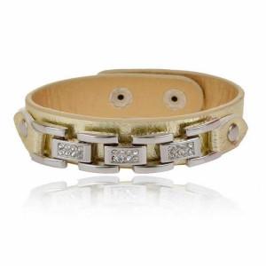 Женский кожаный браслет золотого цвета с металлической вставкой со стразами купить. Цена 165 грн или 520 руб.